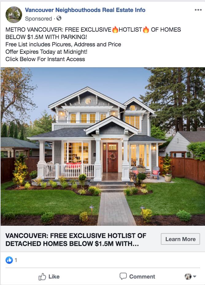 Facebook ads and google ads. Vancouver real estate marketing facebook ads